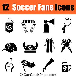 Set of soccer fans icons - Set of twelve soccer fans black...