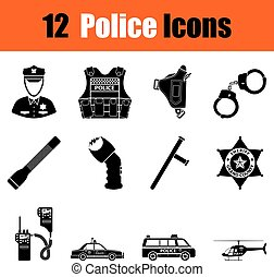 Set of police icons - Set of twelve police black icons...