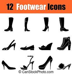 Set of womans footwear icons - Set of twelve womans footwear...