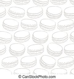 Seamless pattern of doodle macaroons. Sketch macaroon. Macaroons handmade. Objects for design. French dessert. Cute macaroon with doodles. Vector illustration.