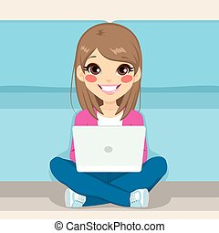 Teenager Sitting Floor With Laptop - Cute teenager girl...