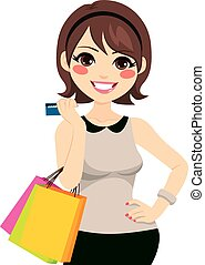 Woman Shopping Credit Card - Beautiful young brunette woman...