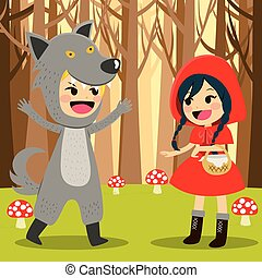 Red Riding Hood Forest - Illustration of Red Riding Hood at...