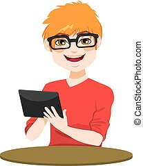 Nerd With Tablet - Young red hair nerd teenager boy with...