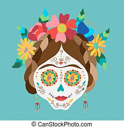 Mexico day of the dead skull and spring decoration -...