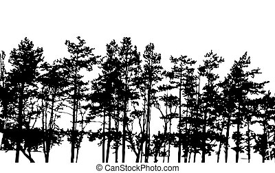 Tree Silhouette Isolated on White Backgorund. Vecrtor...