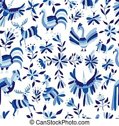 Pattern of animal and flower in blue indigo color