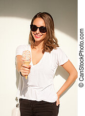 Summer ice cream fun. - Portrait of a gorgeous happy...
