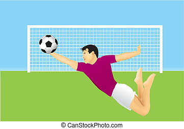 soccer goalkeeper - Soccer goalkeeper is jumping on ball....