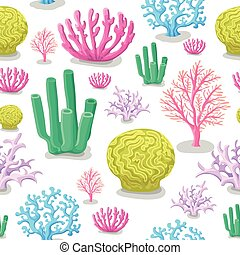 Corals seamless pattern. Life marine, colorful aquatic background. Vector illustration