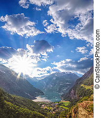 Famous Geiranger fjord in Norway