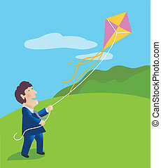 Businessman Flying a Kite - Smiling man in business suit...