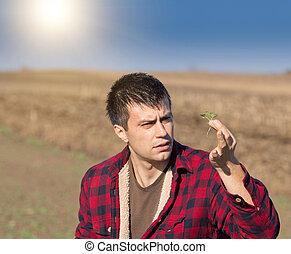 Farmer looking at seedling in the field - Young attractive...