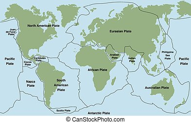 Plate Tectonics - Plate tectonics - world map with major an...