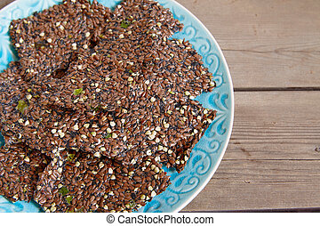 Flaxseed crackers with seaweed - Raw flaxseed crackers with...