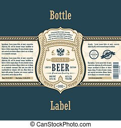Vintage frame label. Gold sticker bottle beer. Design for...