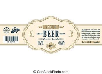 Vintage frame label Gold sticker bottle beer Design for...