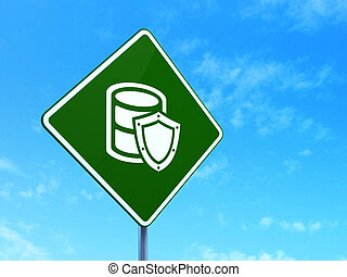 Programming concept: Database With Shield on road sign background