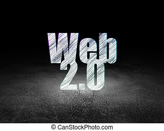 Web development concept: Web 20 in grunge dark room - Web...