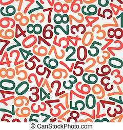 Abstract Education background: multicolor Numbers ?n White, vector illustration