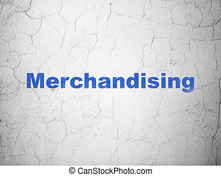 Advertising concept: Merchandising on wall background