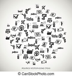 Black doodles Hand Drawn Politics Icons set on White EPS10...