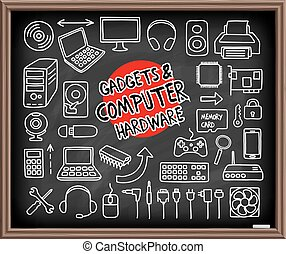 Doodle Computer Hardware icons - Doodle Gadgets and Computer...