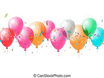 Abstract colorful confetti and balloons background. Isolated on the white.