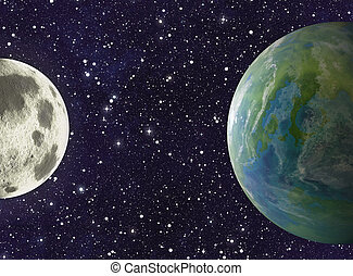 moon and earth planets on stars backgrounds - moon and earth...