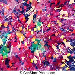abstract backgrounds of flying information media symbol -...