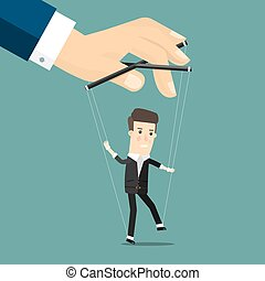 Businessman marionette on ropes controlled hand. Business...