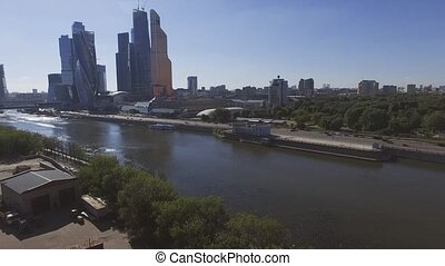 Quadrocopter shoot Moscow International Business Center. Moscow river. Summer sunny day.