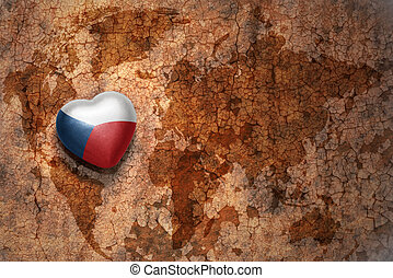 heart with national flag of czech republic on a vintage...