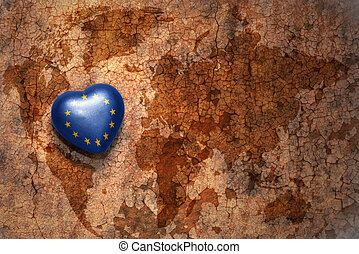 heart with national flag of european union on a vintage...
