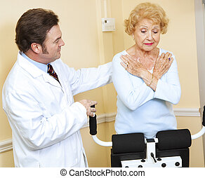 Doctor Supervised Physical Therapy - Senior woman doing...