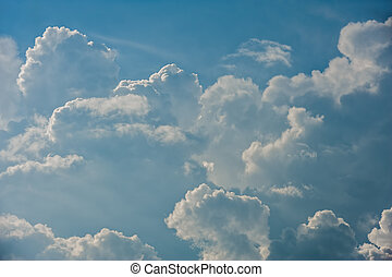 Dramatic relief cloudscape - Large fluffy cloud relief...
