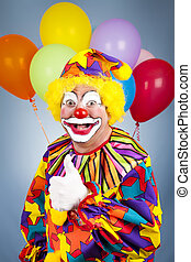 Happy Clown Thumbs Up - Happy clown with balloons giving...