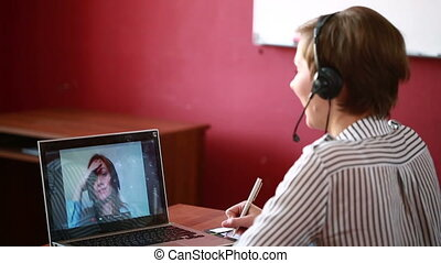 woman leading online video consultation telework concept -...