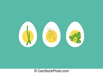 A trio of hard boiled egg horderves, with chives, paprika...