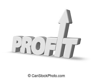 profit - the word profit with an arrow - 3d illustration