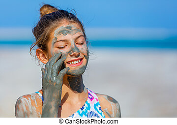 Girl At The Dead Sea, Israel. - Portrait of beautiful girl...