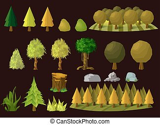 Set of cartoon trees, vector illustration