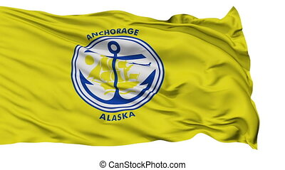 Isolated Waving National Flag of Anchorage City - Anchorage...