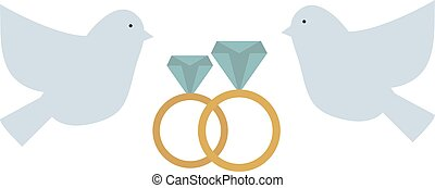 Doves couple with hearts vector icon illustration. Dove...