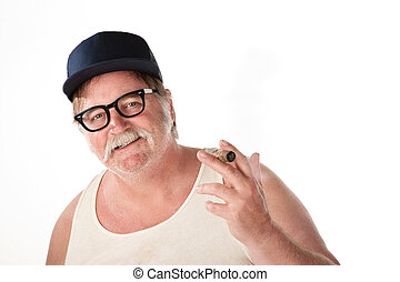 Big man with baseball cap and cigar on white background
