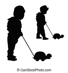 child with turtle silhouette illustration
