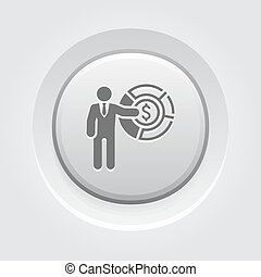 Market Share Icon Business Concept Grey Button Design