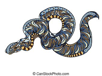 ethnic royal python abstract serpent on gray background