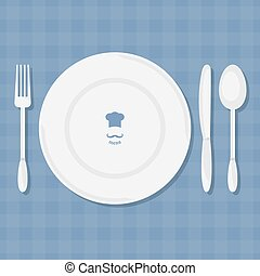 Fork, knife, spoon and plate  vector.