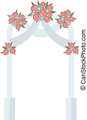 Wedding arch with pink roses vector illustration - Wedding...